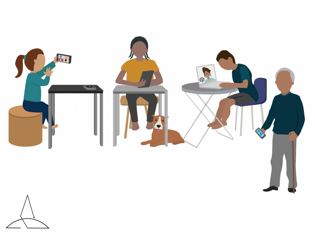 Family in distance learning and working from home with handheld devices and shared HotSpots.