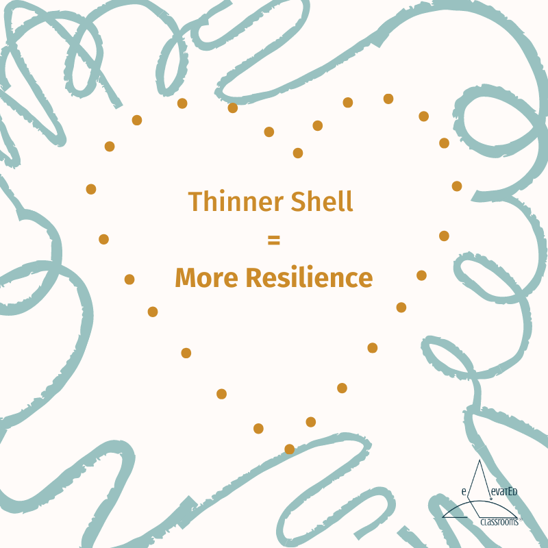 Thinner Shell = More Resilience: dotted heart-shaped shell