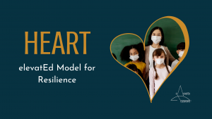 HEART: an elevatEd Model for Resilience, with masked students inside a heart frame + elevatEd Classrooms logo